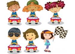 开赛车的卡通儿童图片