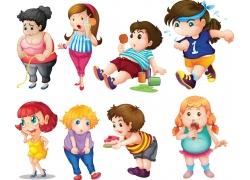 卡通肥胖儿童图片