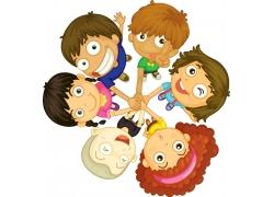 重叠手的卡通儿童图片