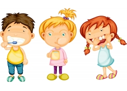 刷牙的卡通儿童图片