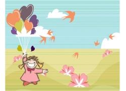 手拿气球的卡通女孩图片
