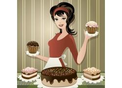 双手托蛋糕的美女插画