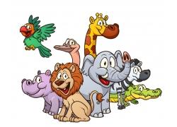 大象狮子等动物插画图片