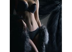 性感黑色内衣模特