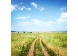 蓝天白云与草地马路风景