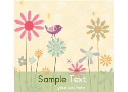 花朵和小鸟卡通画背景素材图片