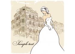 手绘新娘与建筑物