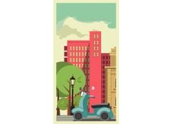 摩托车与城市插画图片