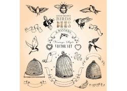 矢量动物鸟笼设计图片