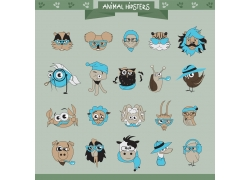卡通动物头部插画图片