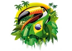 卡通巨嘴鸟与巴西国旗图片