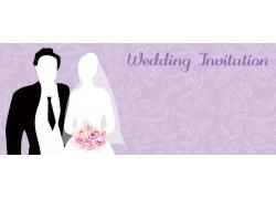 紫色婚礼请柬设计