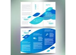 蓝色树叶三折页宣传册图片