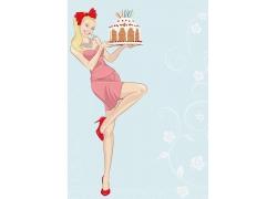 拿着蛋糕的美女