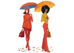 拎着包打伞的卡通美女图片