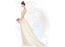 穿着婚纱的卡通美女图片