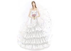 美丽的卡通美女新娘图片