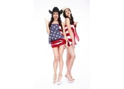 穿着美国国旗旗的性感美女