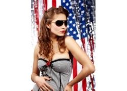 性感美女与美国国旗