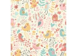 卡通小鸟花卉背景