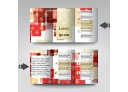 红色格子三折页宣传册图片
