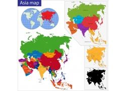 亚洲地区国家地图版块图片