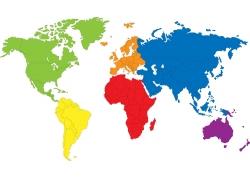 世界彩色地图版块图片