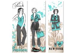 购物美女插画海报背景图片