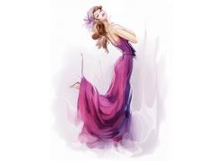 水彩女性插画图片