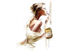 涂唇膏的美女插画图片