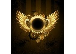 金色齿轮与翅膀图案