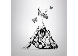 蝴蝶与性感美女插画图片