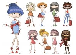 购物女孩插画图片