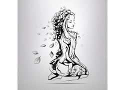树叶性感美女插画图片