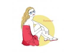 戴眼镜的美女插画图片