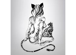 卡通猫女插画图片