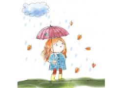 打雨伞的卡通女孩漫画图片