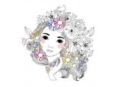 鲜花与女孩插画图片