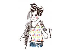 时尚购物女孩插画图片