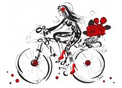 骑自行车的美女插画图片