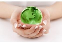 双手捧着的地球与树叶
