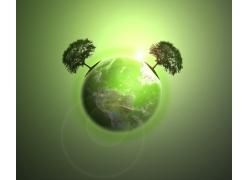 绿色地球与树木