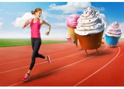 跑步的美女与蛋糕冰淇淋