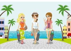 去海边度假的女孩图片