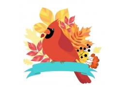 卡通鹦鹉与树叶