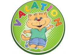 卡通小猫标签设计图片