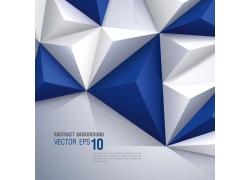 蓝色立体三角形背景边框