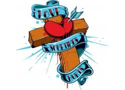 十字架红心T恤印花