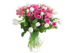 瓶子里的粉玫瑰与白色郁金香
