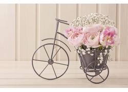 自行车花盆里的花朵